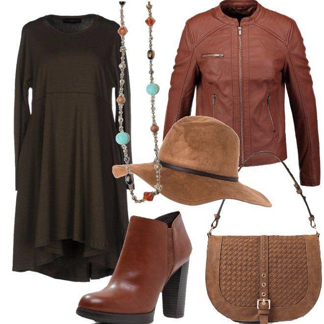 Abito+in+jersey+modello+a+trapezio+a+tinta+unita,+senza+applicazioni+e+senza+tasche,+ideale+per+sentirsi+comode+tutto+il+giorno.+L'ho+abbinato+ad+una+giacca+in+similpelle,+tronchetti+con+tacco+alto+ed+un+cappello+stile+panama.+Lo+stile+dell'abito+ha+necessità+di+un+accessorio+che+lo+illumini+e+valorizzi,+ecco+perchè+ho+scelto+una+collana+lunga+turchese+con+perle+color+marrone.