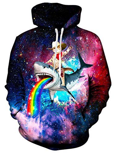 3f7d4f92c5539 funny cat hoodies for men - Men's Funny Cat Ride Rainbow Shark in Space Pullover  Hoodie Hooded Sweatshirt,Cat Ride Shark,Large >>> Click on the image for ...