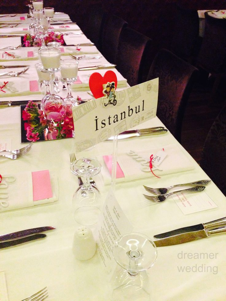 Destination table cards-Istanbul-love theme  pink wedding