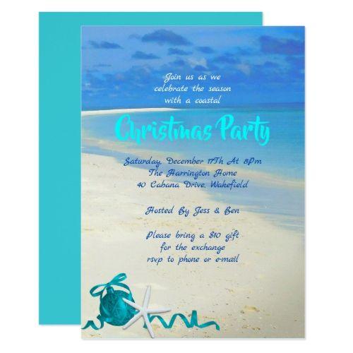 Christmas Beach Party Sand And Sea Invitation Zazzle Com