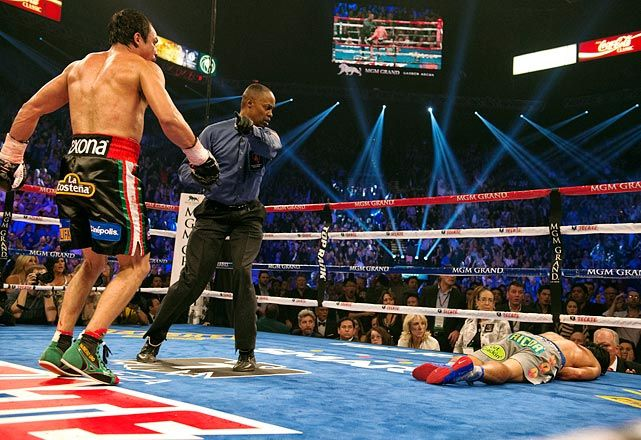 Dec. 8-- Pacquiao-Marquez IV  After three close bouts, Juan Manuel Marquez dealt Manny Pacquiao the knockout punch that the rivalry needed. The devastating punch from the 39-year-old came in the sixth round, left Pacquiao lying face-first in the ring for two minutes, and left some wondering if Pacquiao -- who had until recently been seen as unstoppable -- should retire.