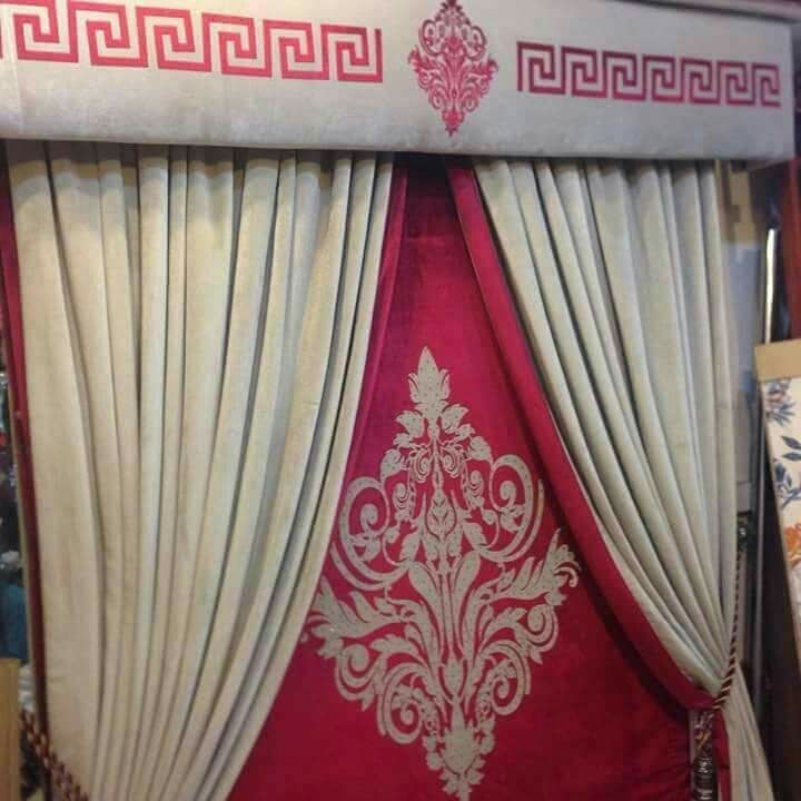Crush Velvet Red And Ivory Curtains With Greek And Geometric Design Motive Window Set 7 7 30 000 00rs Https Aldaraz Ivory Curtains Geometric Design Curtains