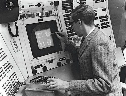 A computer operator using Sketchpad in 1963, the first program to use a graphical user interface. See 'Bitworld' by Jim Boulton in #Eye88 http://eyemagazine.com/feature/article/bitworld