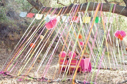 SUCH a cute idea!Little Girls, Kids Parties, Tents, Crepes Paper, Birthday Parties, Ribbons, Outdoor Parties, Parties Ideas, Parties Decor