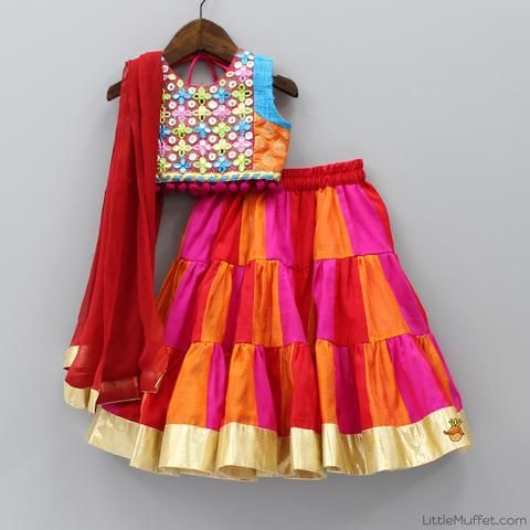 Pre Order: Multicolour Chanderi Ghagra Choli