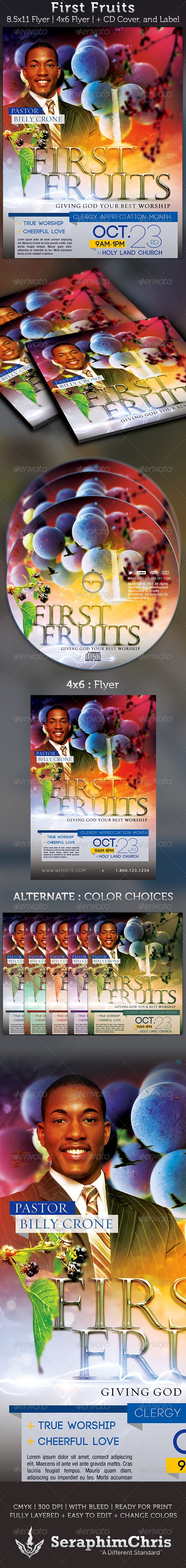 First Fruits: Church Flyer and CD Cover Template -$7.00