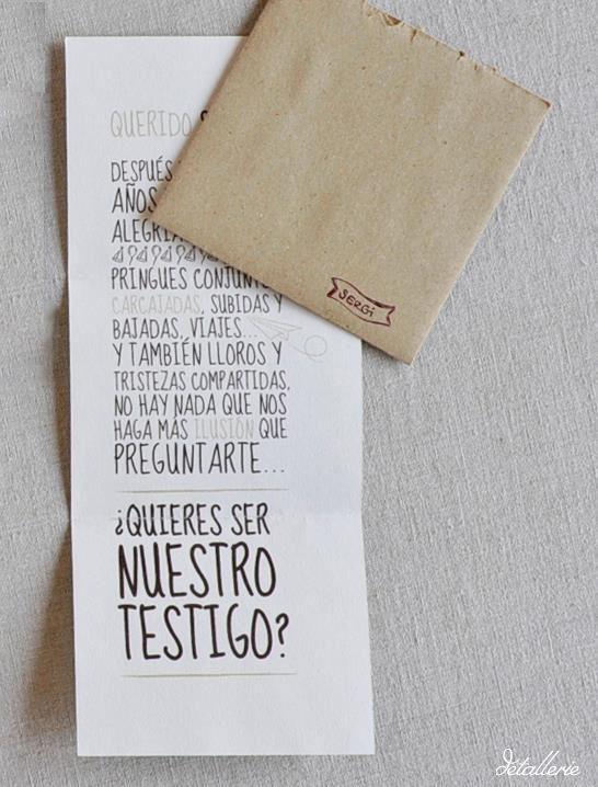 Carta para testigos. Diseño gráfico. Línea gráfica para bodas. Boda rústica. Diseño rústico.  Braidmaids card. Wedding invitation. Rustic wedding.  Graphic design