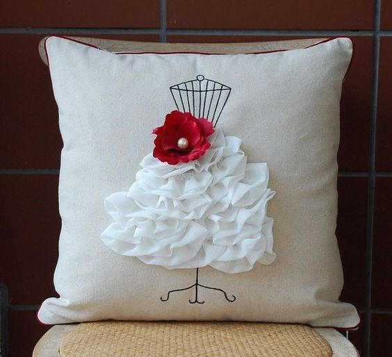 plain cushion with dress form outline, frilled skirt