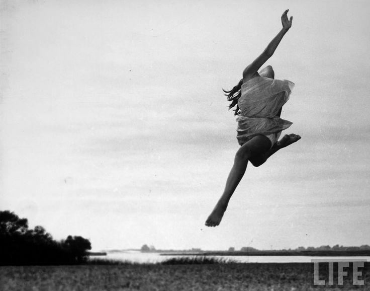 Gjon Mili: Dancer Anita John, of Anita John School of Dance, doing an interpretive dance at unidentified location out of doors. 1936