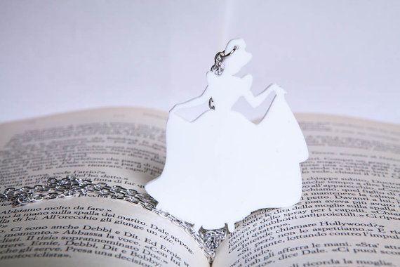 Necklace  Cindirella  Trasparent Pendant White di PasBijoux