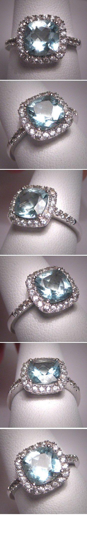 Vintage Aquamarine & White Sapphire Ring