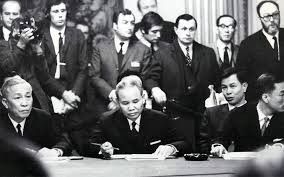January 27, 1973: President Nixon signs the Paris Peace Accords, ending direct U.S. involvement in the Vietnam War. The North Vietnamese accept a cease fire. But as U.S. troops depart Vietnam, North Vietnamese military officials continue plotting to overtake South Vietnam.