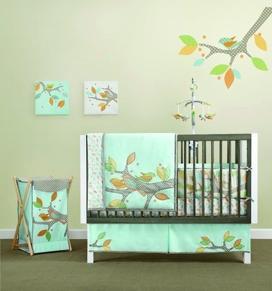 cute tree and birdie crib bedding #pinparty