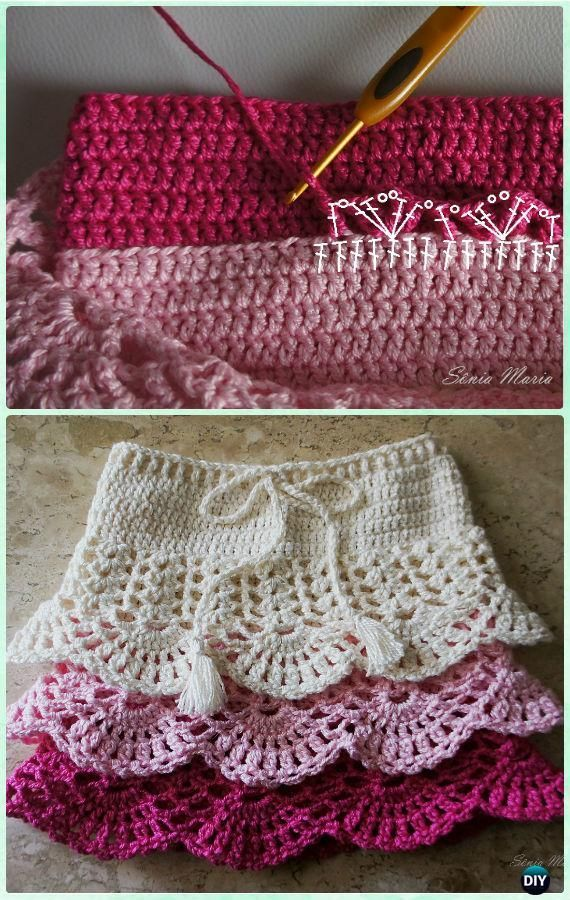 Crochet Layered Shell Stitch Skirt Free Pattern [Video]- Crochet Girls Skirt Free Patterns