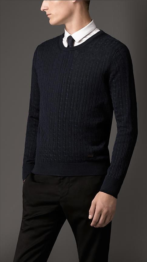 Burberry London S/S14 Cable Knit Silk Linen Sweater