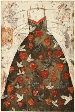 "Kirsi Neuvonen ""Mansikkapuku // Strawberry Dress""; 1987; line etching, aquatint, drypoint edition of 50; 42x67cm"