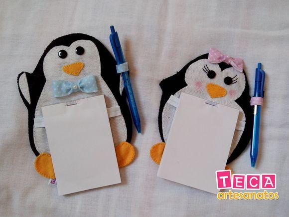 Pinguim porta recados de geladeira