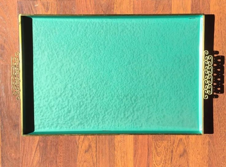 "Large Mid Century Teal Kyes Enamel Asian Handles Moire Glaze 25.5"" Serving Tray  