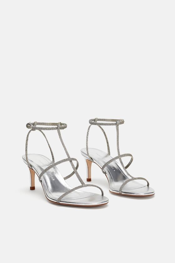 cbb93d5cca45 Image 2 of HEELED SANDAL WITH LAMINATED STRAPS from Zara Strappy Sandals