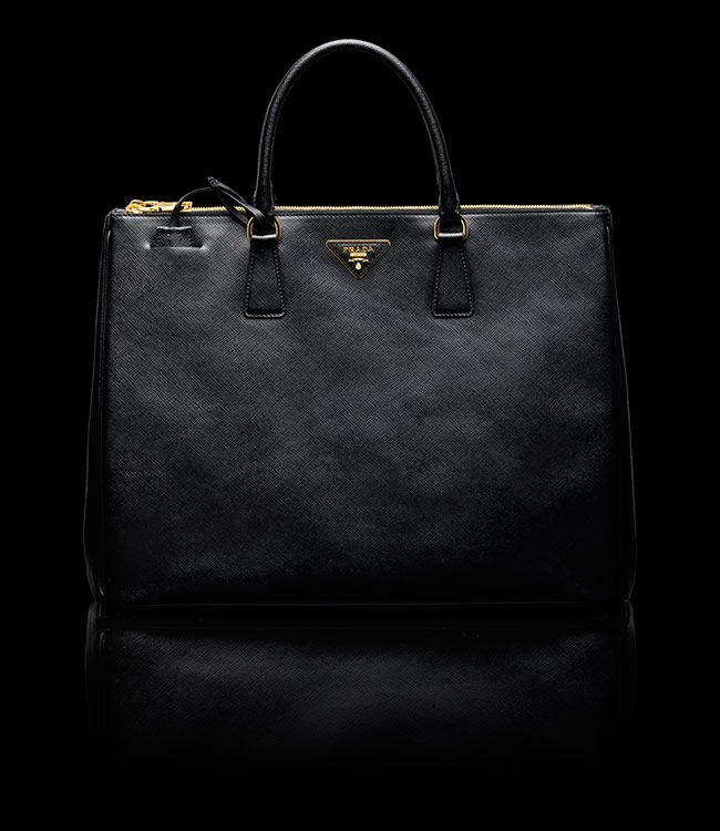 large black prada tote with gold zippers