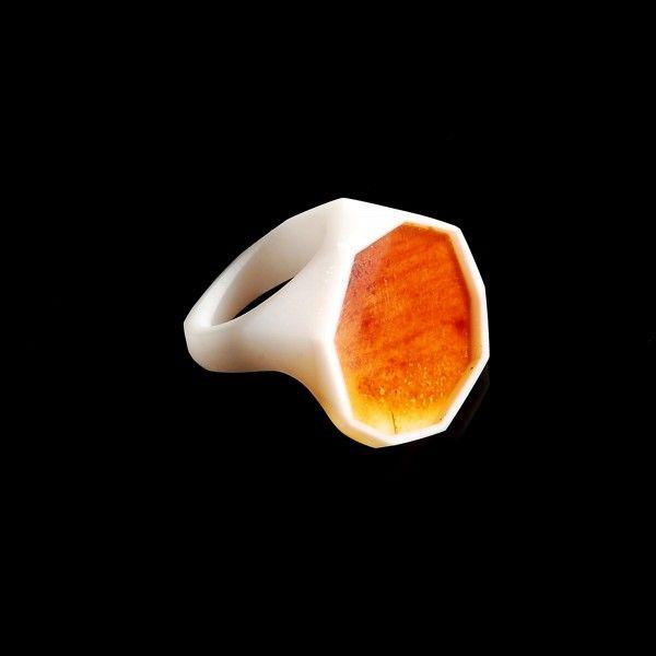 white FRAME Ring / size 15 - monopolka