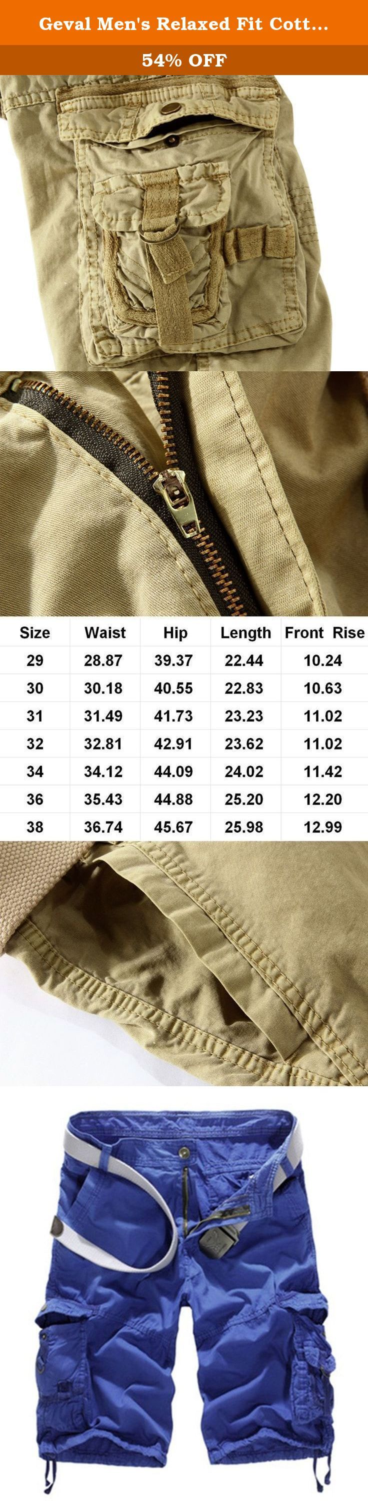 Geval Men's Relaxed Fit Cotton Cargo Short Pants With Multi Pockets(Skyblue,30). Attention:size chart is only for reference, error(1-3cm) should be permissible,if you have any problem please feel free to contact us.