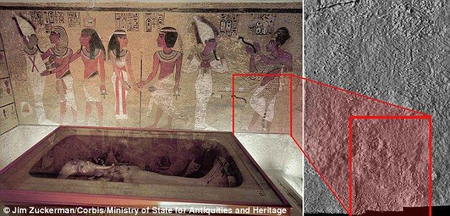 Scans of the north wall of King Tutankhamun's burial chamber have revealed features beneath the intricately decorated plaster (left) a researcher believes may be a hidden door, possibly to the burial chamber of Nefertiti. He claims faults in the rock (highlighted right) are characteristic of a door being cut and bricked up