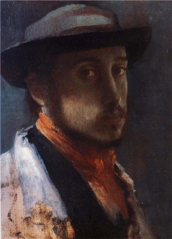 Self Portrait in a Soft Hat, 1858  Edgar Degas: Art Degas, Degas French, Clarks Art, Art Studios, Selfportraits, Self Portraits, Canvas, Soft Hats, Edgar Degas