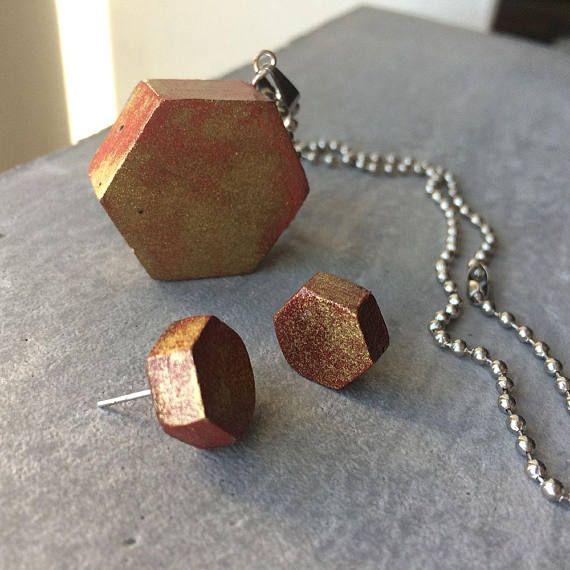 Hexagonal earrings  pendant  Industrial jewelry  CONCRETE