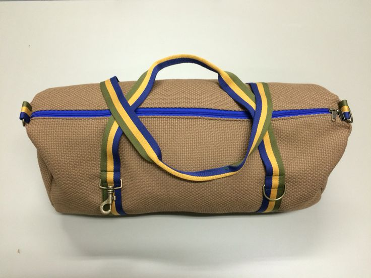 mod.15 - camel bag - blue/green/banana stripes