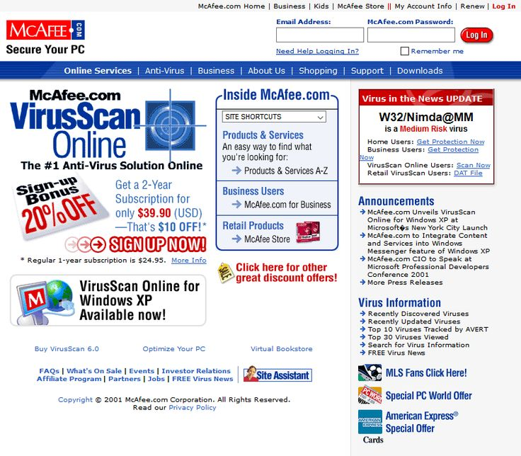 McAfee website in 2001
