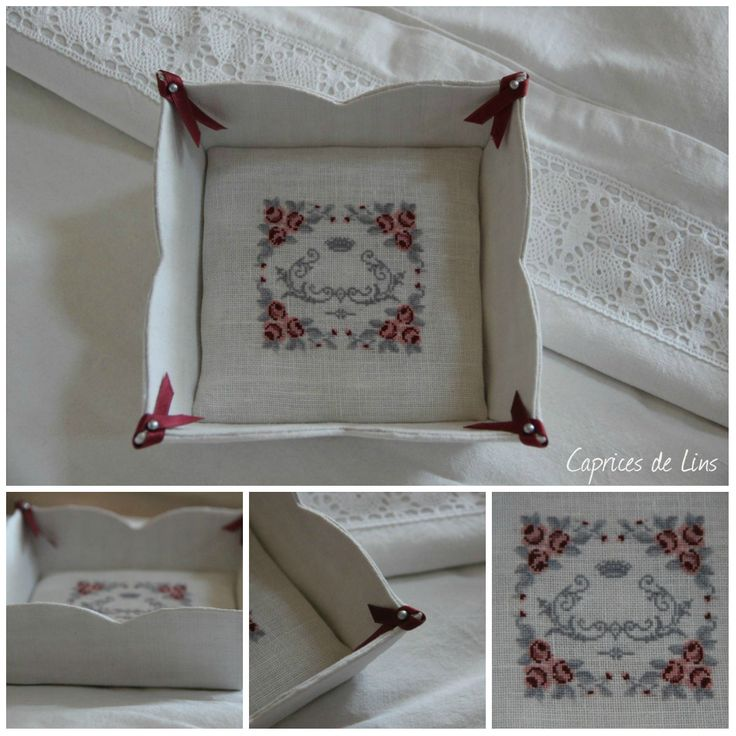 van het boek 'esprit boudoir'-patroontje van Danibrod  'parfum de roses' Hoekjes afgewerkt mat lintje en kopspeldje