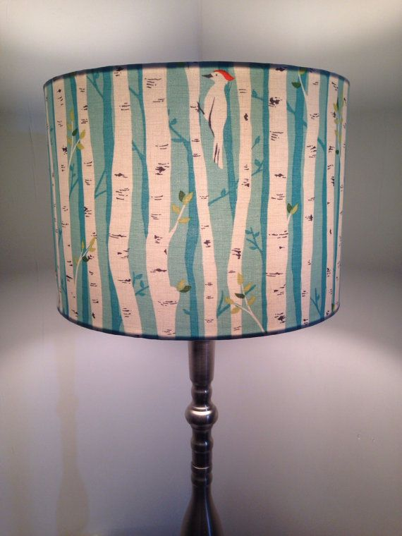 Birch Forest with bird Fabric covered lamp by Lightflightlighting