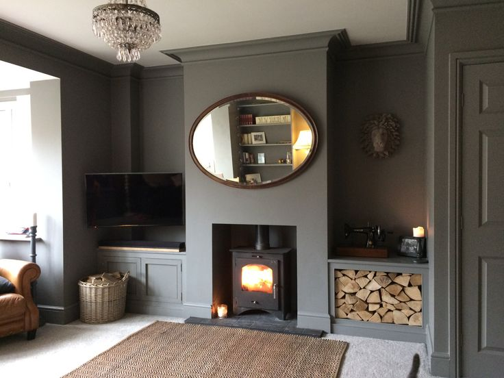 Farrow and Ball - Moles Breath. Living room. Style it dark. Vintage. Grey room. Log burner. Instagram -HeritageDecorating