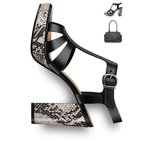 #Blockheel, #sandal, #black #shoe, #reptileprint, #plateau #trend #tamaris