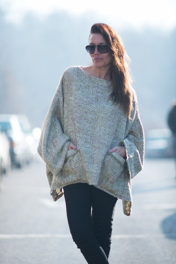 Light Green Wool Loose Top Wool Bucle Tunic Winter by EUGfashion