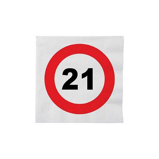 Stopbord servetten 21 jaar. Leuk voor een verjaardag! Deze papieren servetten met een stopbord teken en het cijfer 21 hebben een formaat van ongeveer 33 x 33 cm en zijn verpakt per 16 stuks.
