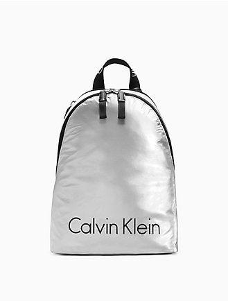 68590975a FrenchEconomie™ Winter 2019 Purses & Handbags: Calvin Klein metallic logo  nylon city backpack