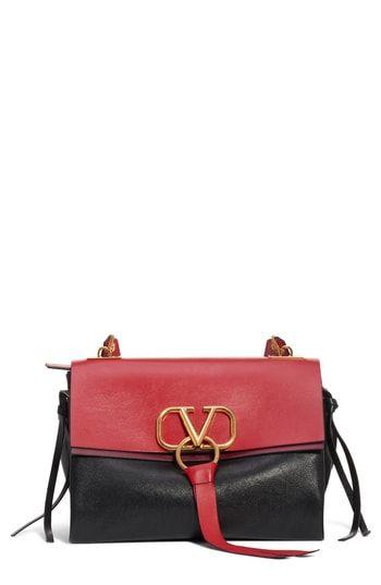 a504bfb0624f VALENTINO GARAVANI Medium V-Ring Leather Shoulder Bag in 2019