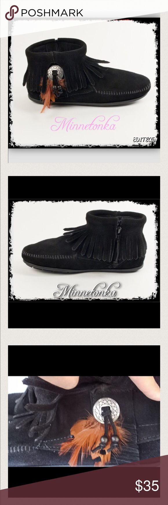 🎀Minnetonka Concho Booties🎀 Like new, worn a few times around the house only. Southwestern chic, metal conchos, decorative feathers and beads peak through the all around fringe on these Southwest inspired mocassin boots. Handmade from supple suede , these booties wrap your feet in supple softness. With a side zipper, these one of a kind ankle boots are easy to slip on and off. Minnetonka Shoes Moccasins