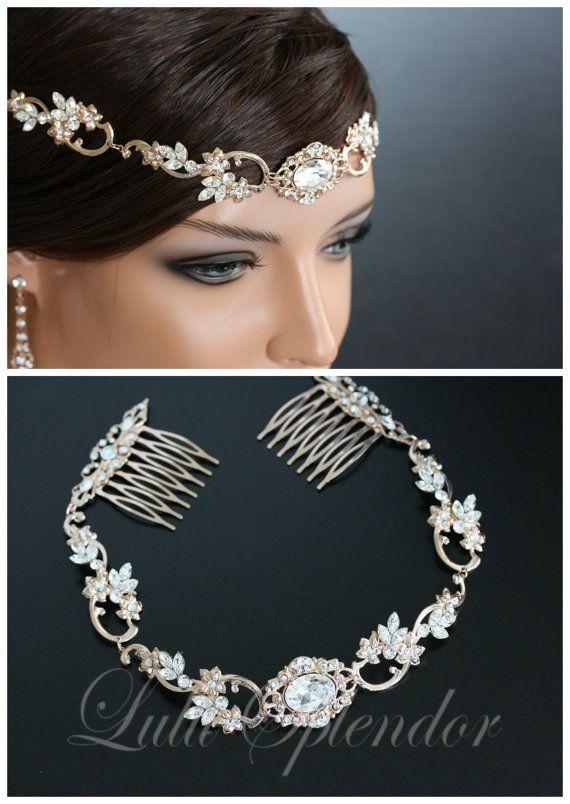Rose Gold Wedding Forehead Band Swarovski Crystal Bridal Halo Headpiece Wedding Hair Accessory RYAN