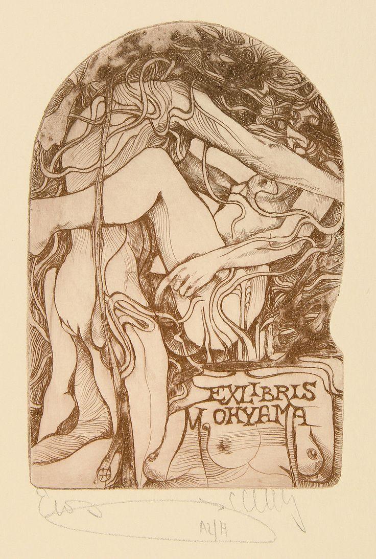 Pavel Hlavaty: Liebesakt. Erotisches Exlibris für M. Ohyama. 106x72_C3