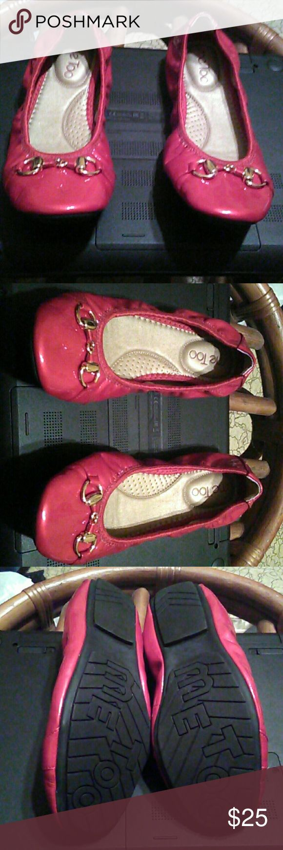 Red shiny leather  me too flats size  7 medium Brand new never worn.  Extremely comfortable brand of shoes.  I used to work in the Dillard's shoe department and this brand sold like hotcakes.  Soft leather.  Name of the shoe is Limbo.  Size 7 medium me too Shoes Flats & Loafers