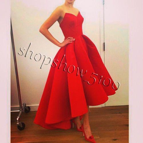 Romántico Hi-Low Rojo Vestidos De Fiesta Sweetheart Ball Gown Vestido De Fiesta Trajes De Noche