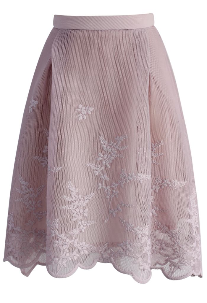 Bunch of Flowers Mesh Skirt in Pink - New Arrivals - Retro, Indie and Unique Fashion