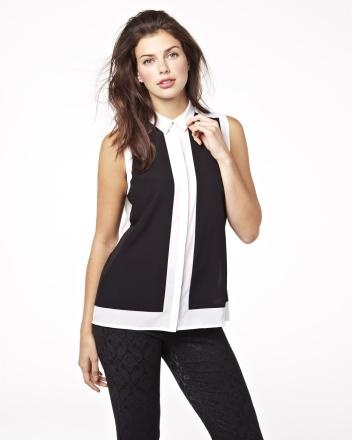 Sleeveless black and white colour block blouse Summer 2013 Collection