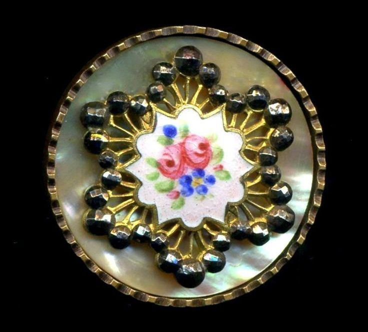 Antique Button...Large Gorgeous Enamel & Cut Steel Over Pearl Background...Roses   $200