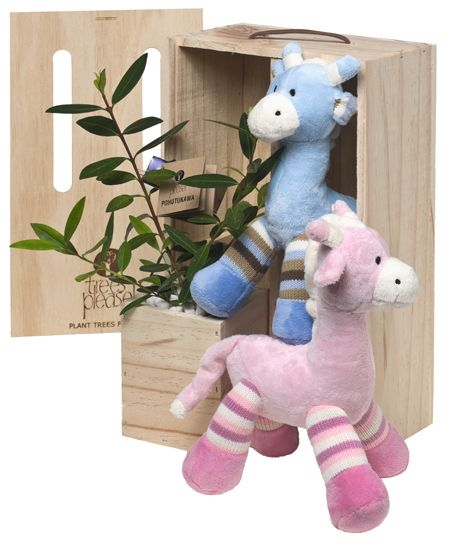 Soft toys and living tree - great gift ideas to celebrate baby's arrival