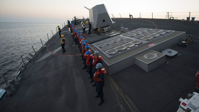 This is what a high speed turn in a US Navy destroyer looks like