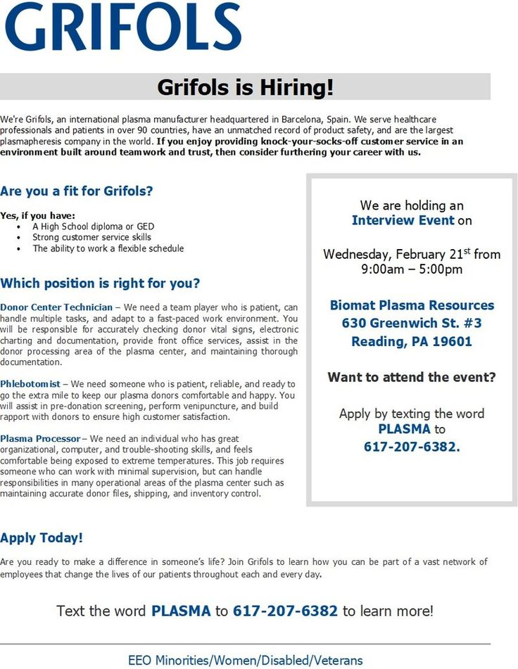 RP Members and Connections here are some opportunities for employment In Reading, PA with Grifols brought to you by  one of our very own Civilian Recruiters here on RallyPoint.  Click on the Link above to apply!  Grifols Plasma is hiring! We have an open hiring event in Reading, PA where we are looking to hire 8 great team members! These positions are all full time and fully benefited. The event is February 21st from 9am-5pm at our Reading Plasma Center. We are completing phone interviews…